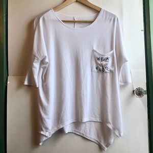 3/$30 White Embroidered Weekend Pocket Graphic Tee